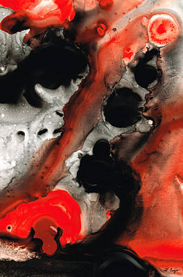 Tempest - Red And Black Painting Print by Sharon Cummings