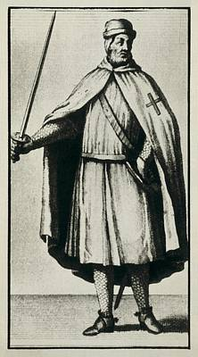 Templar Knight Wearing A War Dress Print by Everett