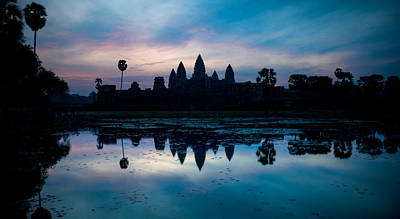 Ancient Civilization Photograph - Temple At The Lakeside, Angkor Wat by Panoramic Images