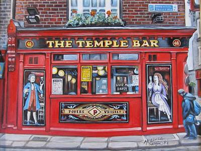 Bono Painting - Temple Bar Dublin Ireland by Melinda Saminski