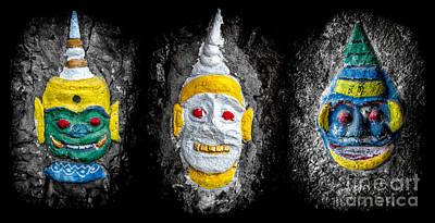 Cave Digital Art - Temple Faces by Adrian Evans
