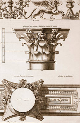 Capital Drawing - Temple Of Antoninus And Faustina by Antoine Babuty Desgodets