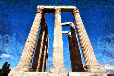Zeus Painting - Temple Of Olympian Zeus  by George Atsametakis