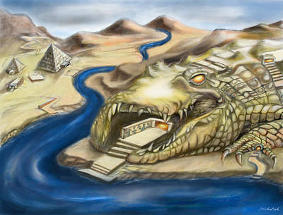 Crocodile Mixed Media - Temple Of Sobek Three Of Three by Michael Cook