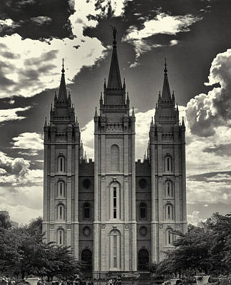 Temple Square Black And White Print by Joshua House