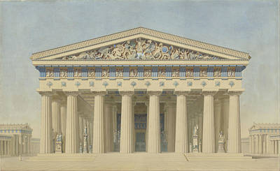Temple Painting - Temple T At Selinunte Sicily by Jacques Ignace Hittorff