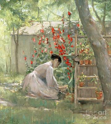 Woman In Red Dress Painting - Tending The Garden by Robert Reid