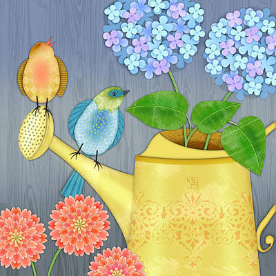 Cute Bird Digital Art - Tending The Garden by Valerie Drake Lesiak