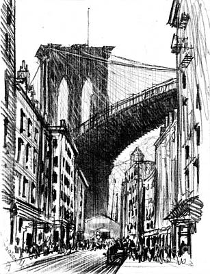 Tenements Near Brooklyn Bridge 1909 Print by Padre Art