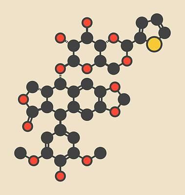 Teniposide Cancer Drug Molecule Print by Molekuul