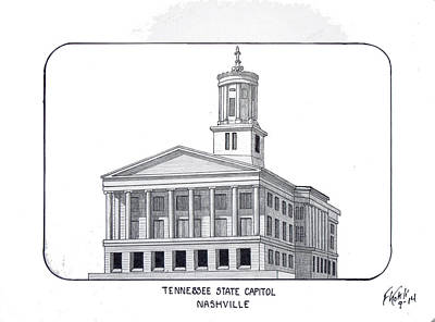 Capitol Building Drawing - Tennessee State Capitol by Frederic Kohli