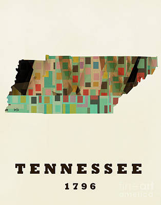 Abstract Painting - Tennessee State Map Modern by Bri B
