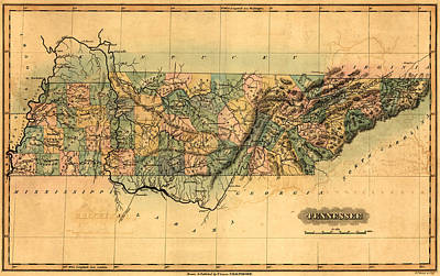 History Of Tennessee Drawing - Tennessee Vintage Antique Map by World Art Prints And Designs
