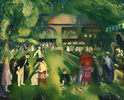 Net Painting - Tennis At Newport 1920 by Mountain Dreams