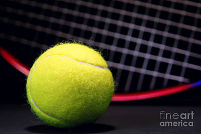 Tennis Ball And Racket Print by Olivier Le Queinec