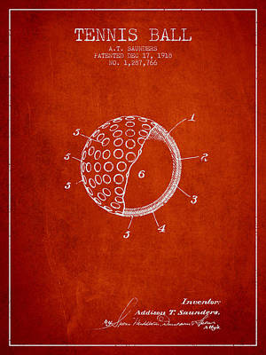 Tennis Ball Patent From 1918 - Red Print by Aged Pixel