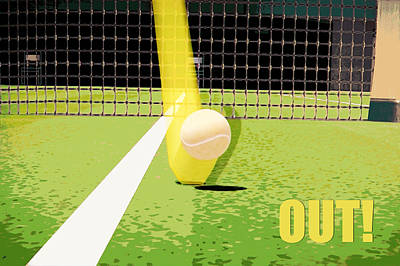 Tennis Hawkeye Out Print by Natalie Kinnear