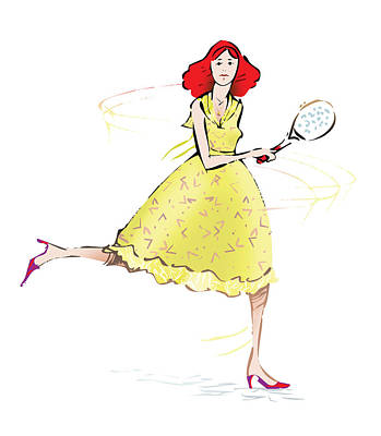 Tennis Drawing - Tennis Lady by Ch' Brown