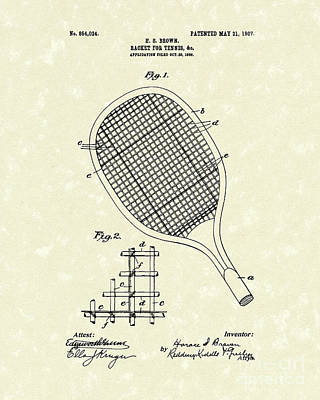1907 Drawing - Tennis Racket 1907 Patent Art by Prior Art Design