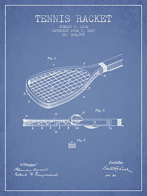 Tennis Racket Patent From 1887 - Light Blue Print by Aged Pixel