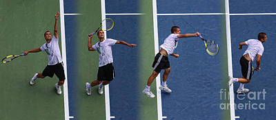 Tennis Serve By Mikhail Youzhny Print by Nishanth Gopinathan