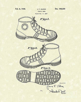 Feet Drawing - Tennis Shoe 1938 Patent Art by Prior Art Design