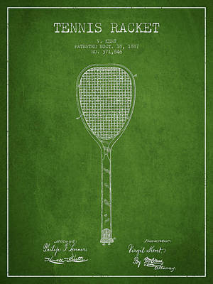 Tennnis Racket Patent Drawing From 1887 Print by Aged Pixel