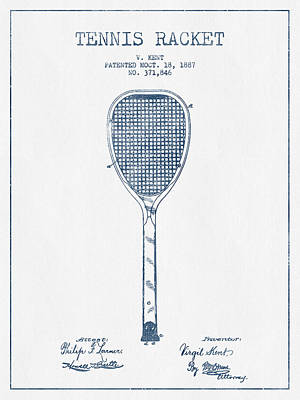 Tennnis Racket Patent Drawing From 1887 -  Blue Ink Print by Aged Pixel