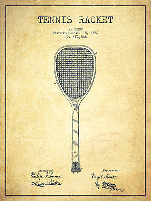 Tennnis Racket Patent Drawing From 1887 - Vintage Print by Aged Pixel