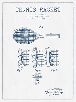 Tennis Digital Art - Tennnis Racket Patent Drawing From 1929  -  Blue Ink by Aged Pixel