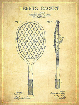Tennnis Racketl Patent Drawing From 1921 - Vintage Print by Aged Pixel
