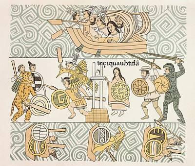 Tenochtitlan Battle, Lienzo De Tlaxcala Print by British Library