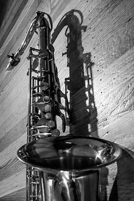 Black And White Photograph - Tenor Saxophone Black And White Vertical by Photographic Arts And Design Studio