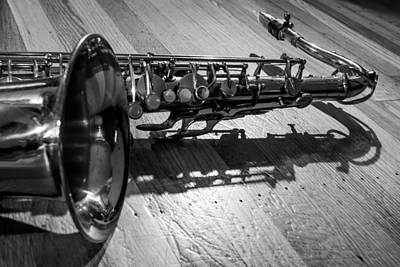 Music Photograph - Tenor Saxophone Horizontal Black And White by Photographic Arts And Design Studio