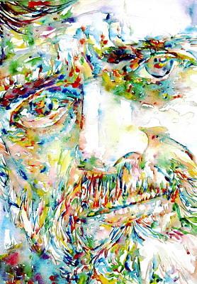 Terence Mckenna Watercolor Portrait.1 Print by Fabrizio Cassetta