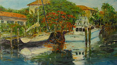Docking Painting - Terra Mar Boats by Jerry Smietanka