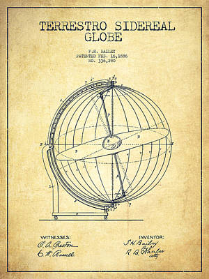 Global Digital Art - Terrestro Sidereal Globe Patent Drawing From 1886 -vintage by Aged Pixel