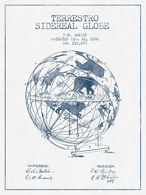 Global Digital Art - Terrestro Sidereal Globe Patent From 1886- Blue Ink by Aged Pixel