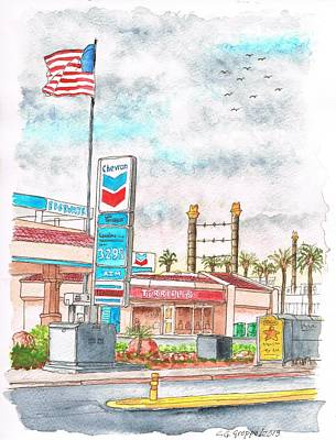 Gas Station Painting - Terribles Chevron Gas Station, Laughlin, Nevada by Carlos G Groppa