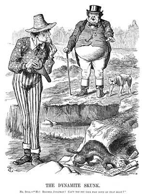 Uncle Sam Painting - Terrorism Cartoon, 1884 by Granger