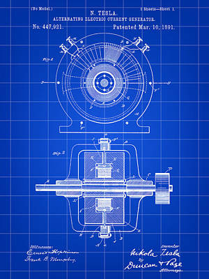 Tesla Alternating Electric Current Generator Patent 1891 - Blue Print by Stephen Younts