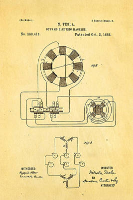 Dynamos Photograph - Tesla Electric Dynamo Patent Art 2 1888 by Ian Monk