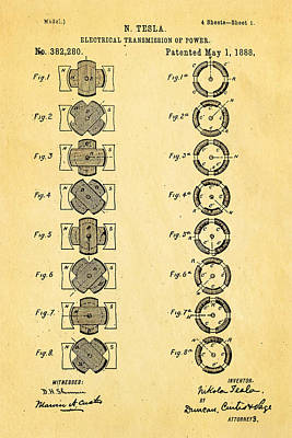 Tesla Electrical Transmission Of Power Patent Art 1888 Print by Ian Monk
