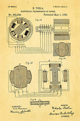 Tesla Electrical Transmission Of Power Patent Art 3 1888 Print by Ian Monk