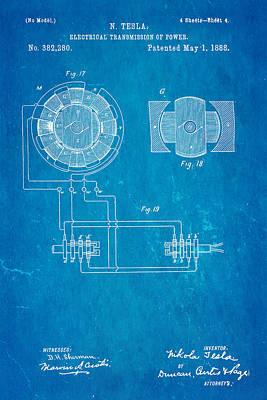 Tesla Electrical Transmission Of Power Patent Art 4 1888 Blueprint Print by Ian Monk