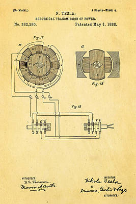 Tesla Electrical Transmission Of Power Patent Art 4 1888 Print by Ian Monk