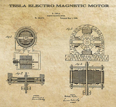 Tesla Electro Magnetic Motor Patent Art Aged 1888 Print by Daniel Hagerman
