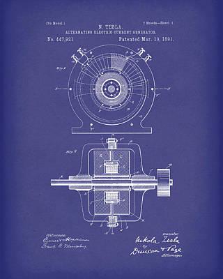 Tesla Generator 1891 Patent Art  Blue Print by Prior Art Design