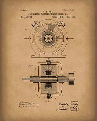 Tesla Generator 1891 Patent Art  Brown Print by Prior Art Design