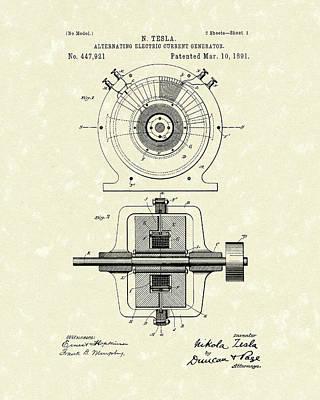Artwork Drawing - Tesla Generator 1891 Patent Art by Prior Art Design